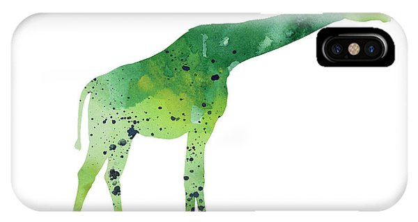 Giraffe iPhone Case - Abstract Green Giraffe Minimalist Painting by Joanna Szmerdt