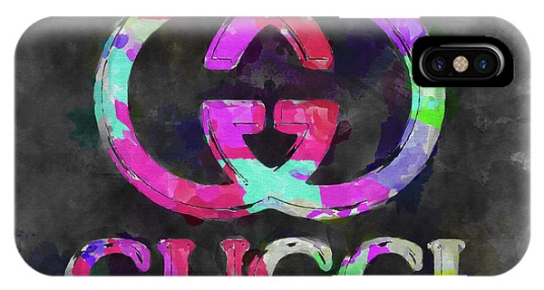 Logo iPhone Case - Abstract Gucci Logo Watercolor by Ricky Barnard