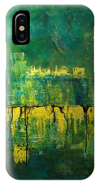 IPhone Case featuring the painting Abstract In Yellow And Green by Jocelyn Friis
