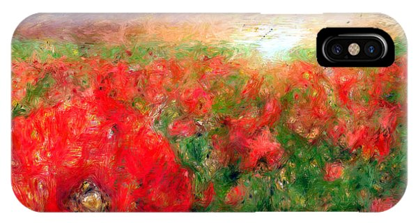 Abstract Landscape Of Red Poppies IPhone Case