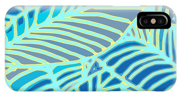 Abstract Leaves Blue And Aqua IPhone Case