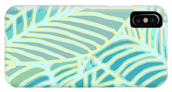 Abstract Leaves Teal And Aqua IPhone Case