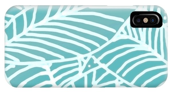 Abstract Leaves Teal Batik IPhone Case