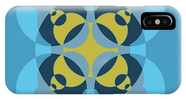 Arte iPhone Case - Abstract Mandala Cyan, Dark Blue And Yellow Pattern For Home Decoration by Drawspots Illustrations