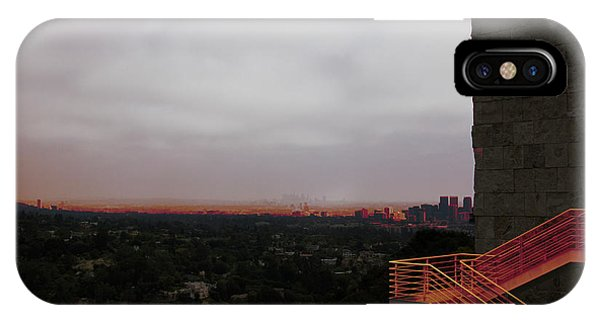 J Paul Getty iPhone Case - Abstract Mixed Media Getty View Los Angeles California  by Chuck Kuhn