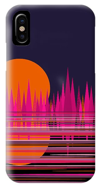 Abstract Moon Rise In Pink IPhone Case