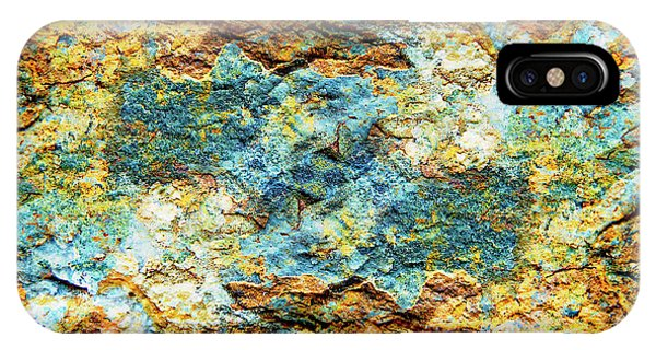 Abstract Nature Tropical Beach Rock Blue Yellow And Orange Macro Photo 472 IPhone Case