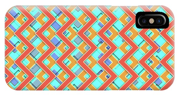 Arte iPhone Case - Abstract Orange, Cyan And Red Pattern For Home Decoration by Drawspots Illustrations