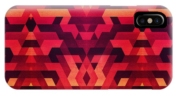 Illusion iPhone Case - Abstract Red Geometric Triangle Texture Pattern Design Digital Futrure  Hipster  Fashion by Philipp Rietz