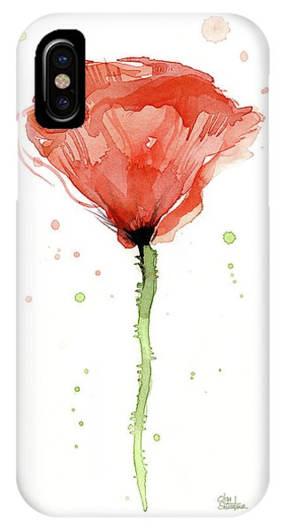 Poppies iPhone Case - Abstract Red Poppy Watercolor by Olga Shvartsur