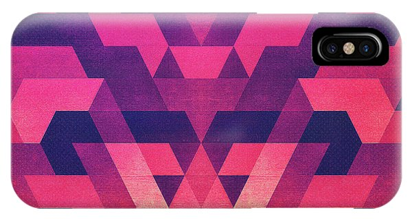 Love iPhone Case - Abstract Symertric Geometric Triangle Texture Pattern Design In Diabolic Magnet Future Red by Philipp Rietz