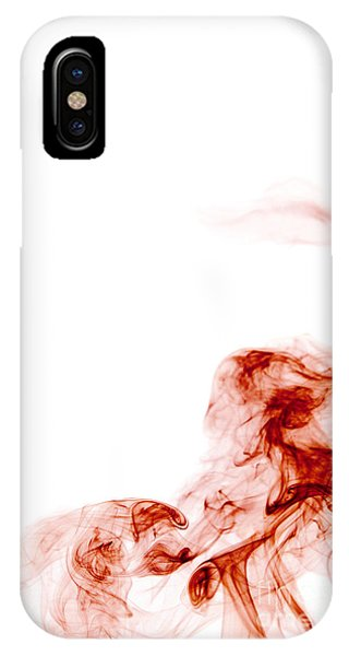 Abstract Vertical Blood Red Mood Colored Smoke Wall Art 01 IPhone Case