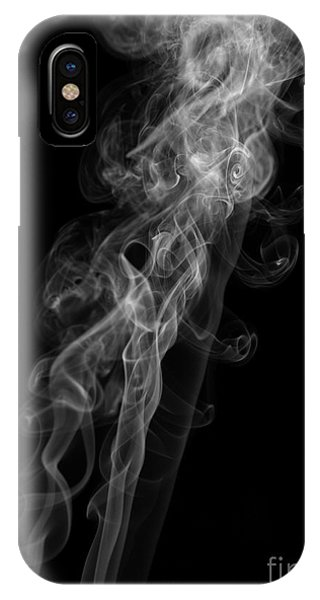 Abstract Vertical Monochrome White Mood Colored Smoke Wall Art 01 IPhone Case