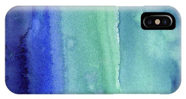 Texture iPhone Case - Abstract Vertical Watercolor Aqua Stripes by Olga Shvartsur