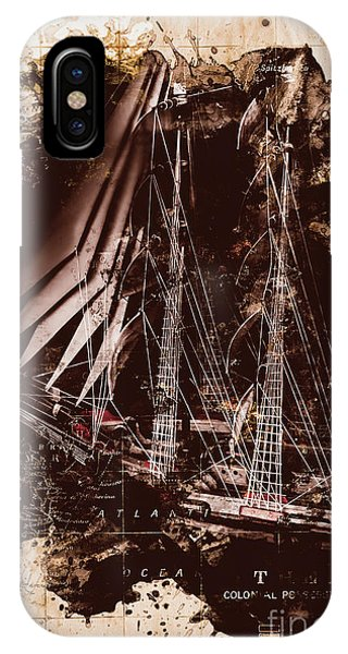 Navigation iPhone Case - Abstract Vintage Ship And Old World Paper Map by Jorgo Photography - Wall Art Gallery