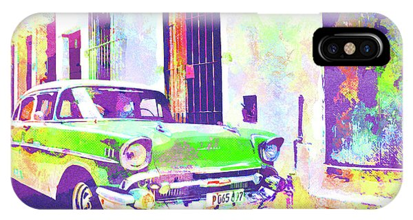 iPhone Case - Abstract Watercolor - Havana Cuba Classic Cadillac I by Chris Andruskiewicz