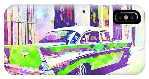 iPhone Case - Abstract Watercolor - Havana Cuba Classic Cadillac II by Chris Andruskiewicz