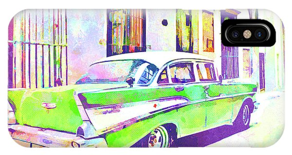iPhone Case - Abstract Watercolor - Havana Cuba Classic Cadillac IIi by Chris Andruskiewicz