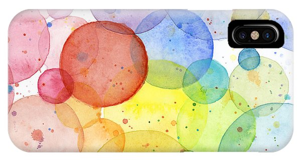 Shape iPhone Case - Abstract Watercolor Rainbow Circles by Olga Shvartsur