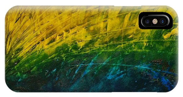 Abstract Yellow, Green With Dark Blue.   IPhone Case