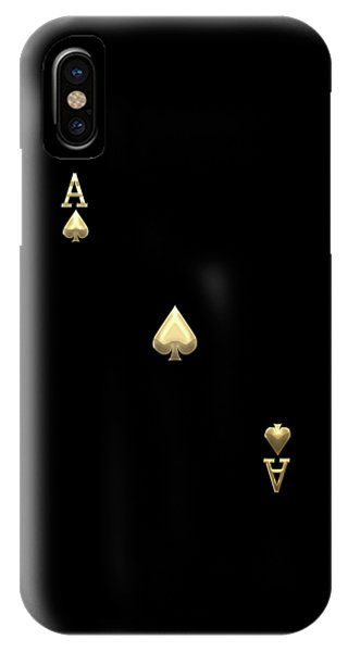 Ace Of Spades In Gold On Black   IPhone Case