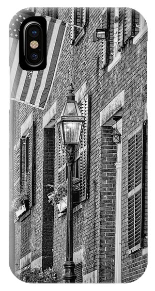 Brownstone iPhone Case - Acorn Street Details Bw by Susan Candelario