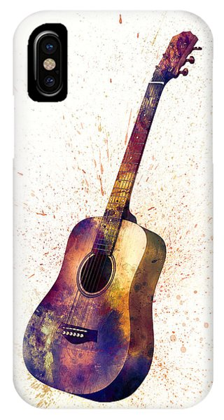 Musical iPhone Case - Acoustic Guitar Abstract Watercolor by Michael Tompsett