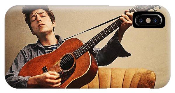 Guitar Legends iPhone Case - Acrylic Paint Sketch Bob Dylan 1963 by Elaine Plesser