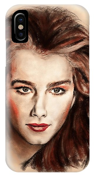 Child Actress iPhone Case - Actress And Model Brooke Shields II by Jim Fitzpatrick