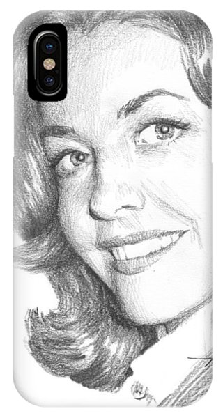 Actress Myrna Fahey Closeup Pencil Portrait Phone Case by Mike Theuer