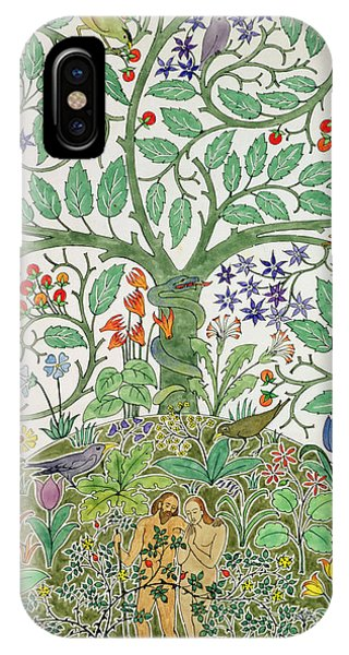 Art And Craft iPhone Case - Adam And Eve Design  by Charles Francis Annesley Voysey