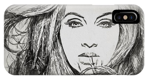 Adele iPhone Case - Adele Charcoal Sketch by Dan Sproul