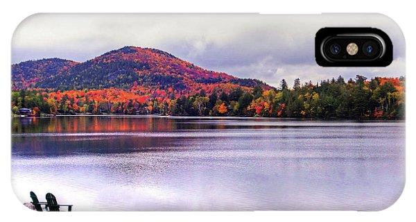 Adirondack Chairs In The Adirondacks. Mirror Lake Lake Placid Ny New York Mountain IPhone Case