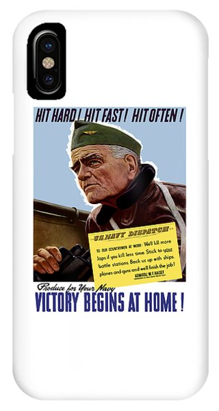 Bull Art iPhone Case - Admiral William Bull Halsey -- Ww2 Propaganda  by War Is Hell Store