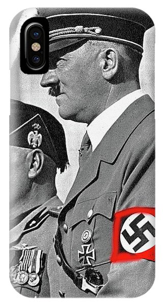 Adolf Hitler And Fellow Fascist Dictator Benito Mussolini October 26 1936 Number Three Color Added  IPhone Case