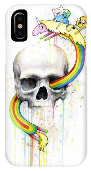 Skull iPhone Case - Adventure Time Skull Jake Finn Lady Rainicorn Watercolor by Olga Shvartsur