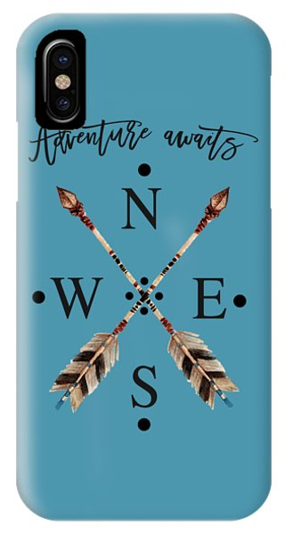 IPhone Case featuring the digital art Adventure Waits Typography Arrows Compass Cardinal Directions by Georgeta Blanaru