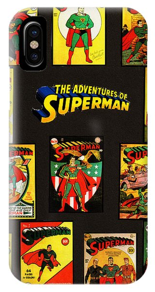 IPhone Case featuring the mixed media Adventures Of Superman by W And F Kreations