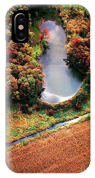 IPhone Case featuring the photograph Aerial Farm Big Foot Pond by Tom Jelen