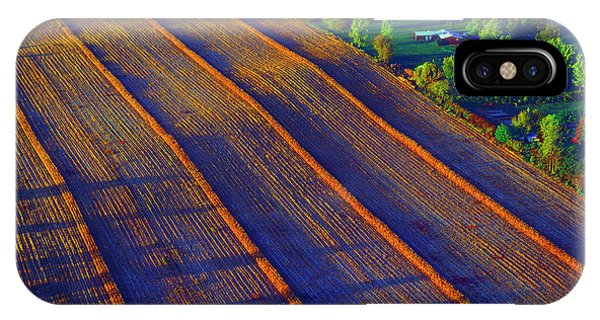Aerial Farm Field Harvested At Sunset IPhone Case