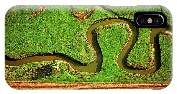 aerial, farm, stream, northern, Illinois, farms, meandering  IPhone Case