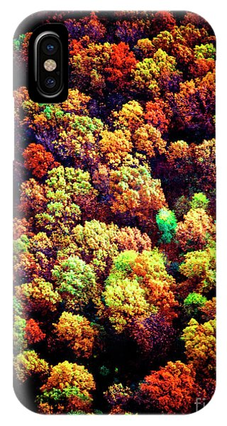 IPhone Case featuring the photograph Aerial Farm Tree Tops Fall Ff by Tom Jelen