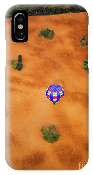 Aerial Of Hot Air Balloon Above Tilled Field Fall IPhone Case
