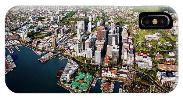 Aerial Panorama - Downtown - City Of Honolulu, Oahu, Hawaii  IPhone Case