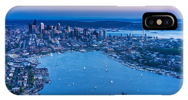 Downtown Seattle iPhone Case - Aerial Seattle And Lake Union by Mike Reid