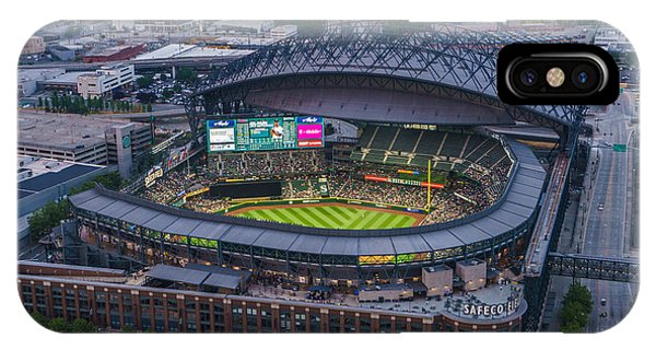 Downtown Seattle iPhone Case - Aerial Seattle Safeco Field Mariners by Mike Reid