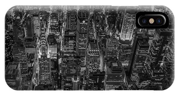 Aerial View Midtown Manhattan Nyc Bw IPhone Case