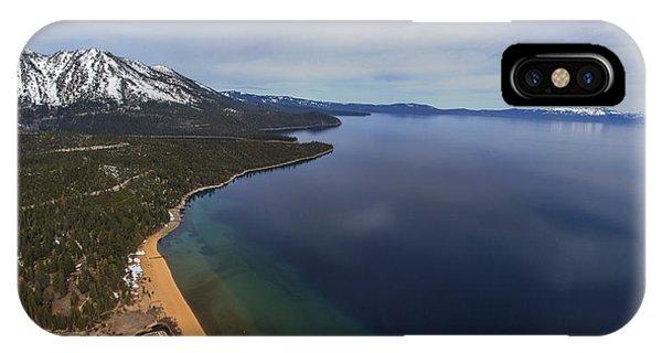 Aerial View Of Ski Beach, Lake Tahoe IPhone Case