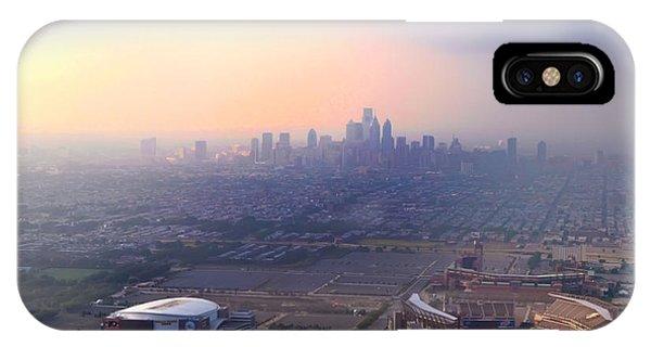 Philadelphia Phillies Stadium iPhone Case - Aerial View - Philadelphia's Stadiums With Cityscape  by Bill Cannon