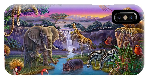 African Animals At The Water Hole IPhone Case